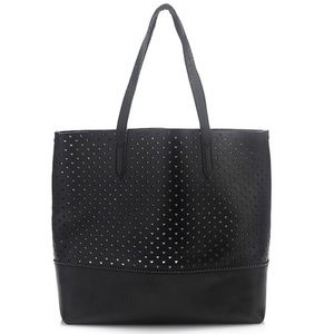 JCrew Downing Black Perforated Tote Bag & Pouch